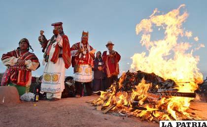 Ceremonia de celebración del nuevo año Aymara (Foto APG)