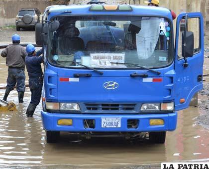 Calles inundadas luego de una jornada de lluvia