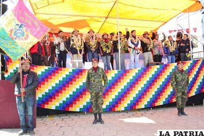 Acto central conmemorando el primer año de la nacionalización de Colquiri