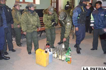 Se decomisaron bebidas alcohólicas de dudosa preparación de los locales públicos