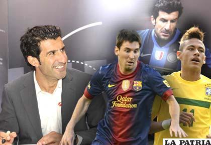 Luis Figo, Lionel Messi y Neymar