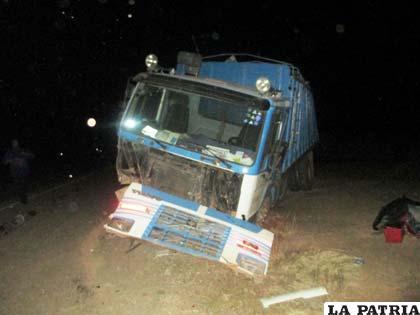 El camión que participó en el hecho de tránsito