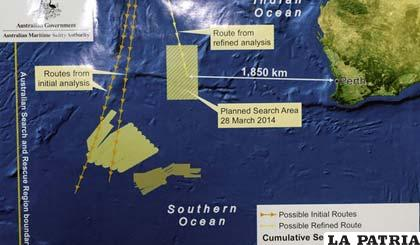 La búsqueda girará 800 kilómetros al suroeste respecto al área designada tras analizar de nuevo toda la información