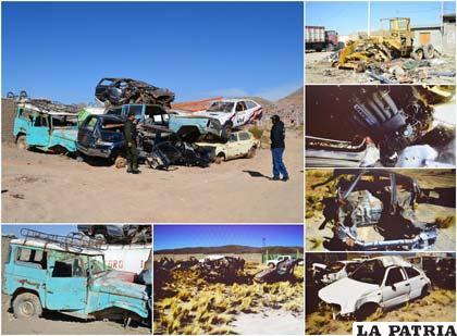 Los vehículos y la chatarra que era vendida