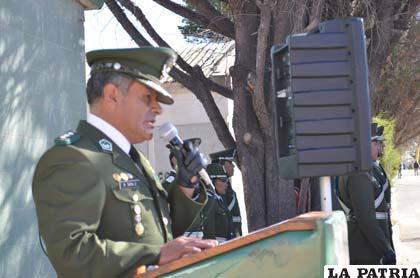 El comandante departamental de Policía, coronel Rodolfo Tapia Zuleta