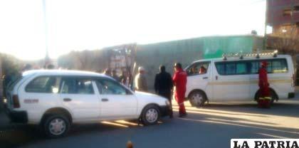 La escena del hecho de tránsito en las calles Antofagasta y Ayacucho