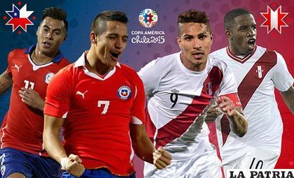 Vargas y Sánchez (Chile), Guerrero y Farfán (Perú) se enfrentarán esta tarde /conmebol.com