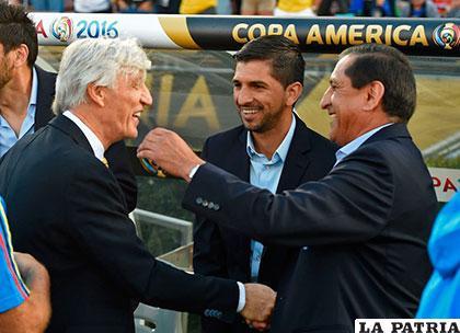 El abrazo de José Pekerman y Ramón Díaz /as.com