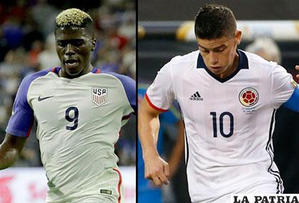Gyasi Zardes (Estados Unidos) y James Rodríguez (Colombia), figuras de sus equipos
