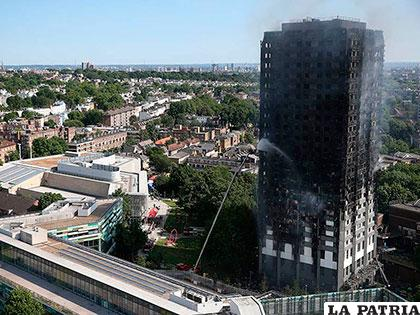 Así quedó el edificio que se incendió en Londres