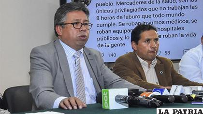 Luis Larrea (Izq.), presidente del Colegio Médico de La Paz /erbol.com.bo