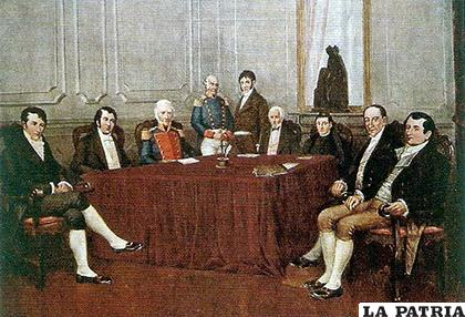 Cuadro de la Primera Junta pintado por Francisco Fortuny