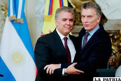 El presidente de Argentina, Mauricio Macri, mantuvo este lunes una reunión en Buenos Aires con su par de Colombia, Iván Duque /El Universal