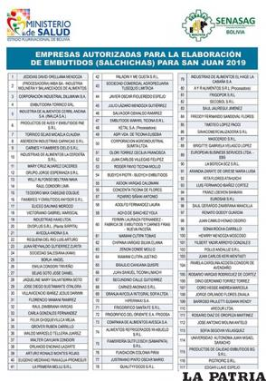 La lista oficial presentada por el Ministerio de Salud y el Senasag