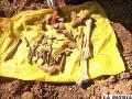 Los restos óseos encontrados por la señora y la Policía /LA PATRIA