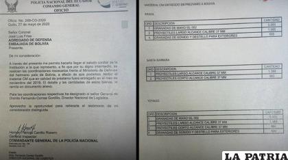 El documento brindado por el gobierno ecuatoriano /ABI
