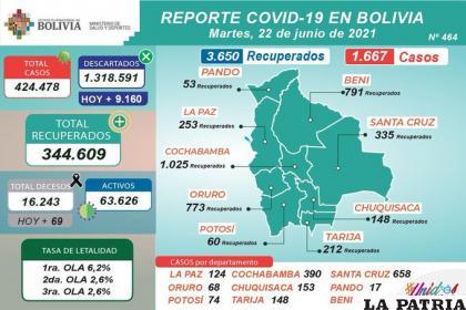 Bolivia registró casi 70 decesos /MINISTERIO DE SALUD