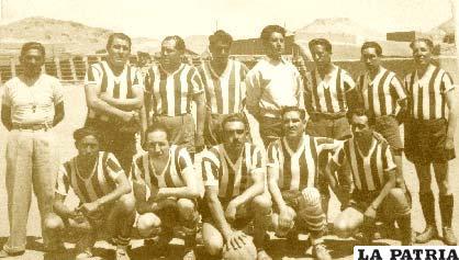 Jugadores que componían el subdecano del fútbol orureño Bolívar Nimbles que significa rápido el año 1950