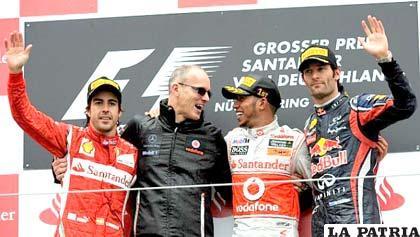 Hamilton, Alonso y Webber en el podio de ganadores