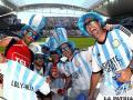 Hinchas de la selección argentina en el Arena Corinthians,  previo al partido