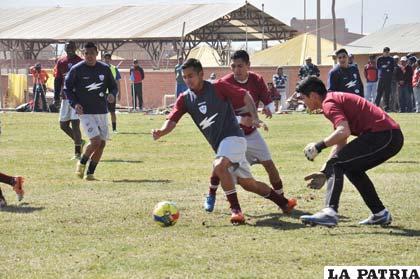 Durante el entrenamiento futbolístico del equipo