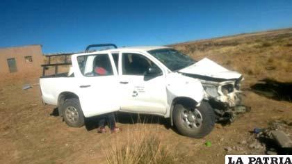 La camioneta que colisionó contra la señal