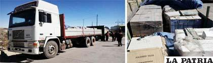 Uno de los vehículos secuestrados y mercadería de contrabando