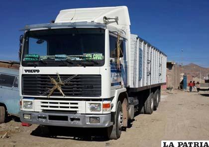 El camión secuestrado por Diprove
