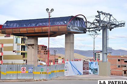 Base de la construcción del Teleférico Virgen del Socavón /Archivo