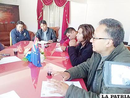 Reunión que se realizó en Challapata entre autoridades de la UTO y del municipio /UTO
