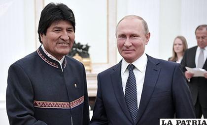 Putin felicitó a Morales por haber recibido el título Doctor Honoris Causa de la Universidad de Amistad de los Pueblos de Rusia /PURANOTICIA