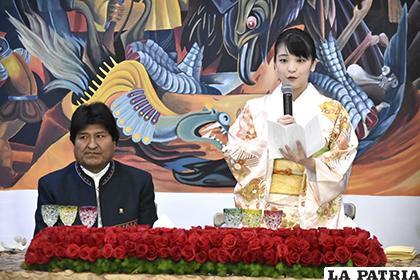 Princesa japonesa Mako de Japón, junto al presidente Evo Morales /Daniel Miranda /APG/Noticias