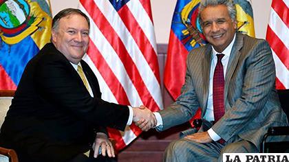 El presidente de Ecuador, Lenín Moreno y el secretario de Estado de Estados Unidos, Mike Pompeo /TELEAMAZONAS