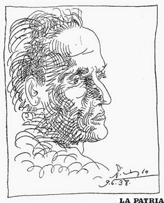 Dibujo realizado por Pablo Picasso dos meses después de la muerte del poeta en París