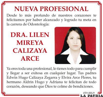 Nueva Profesional Dra. Lilen Mireya Calizaya Arce
