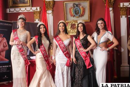 Las representantes orureñas con la Miss Bolivia, Lenka Nemer / LA PATRIA