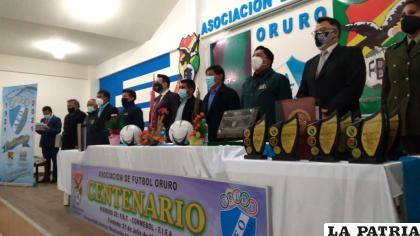 Durante el acto de celebración de los 100 años de fundación de la AFO /LA PATRIA