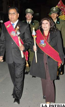 El gobernador Santos Tito Veliz y la alcaldesa Rossío Pimentel