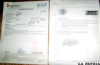 A la izquierda el certificado original de Spectrolab, a la derecha el presentado como respaldo del mineral incautado