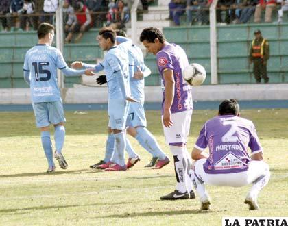 Festejo de los jugadores de Bolívar