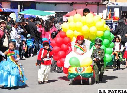 Niños del nivel inicial rindieron homenaje a los 189 años de independencia del país
