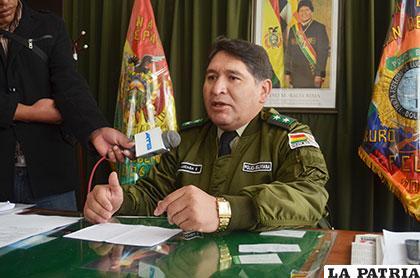 El director de la Felcc, teniente coronel Iván Luizaga