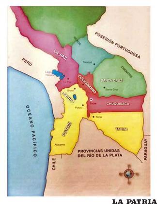 Mapa de la República de Bolívar en 1825