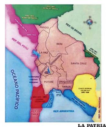 Mapa histórico de Bolivia con las pérdidas territoriales
