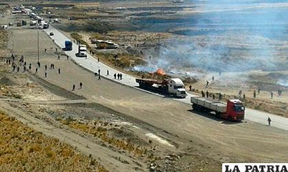 Así se vio la carretera durante el bloqueo el día de ayer
