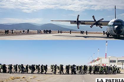 60 policías antimotines llegaron de Tarija, ayer a las 09:10 horas, al aeropuerto internacional