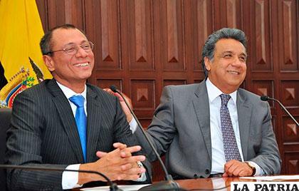 El presidente ecuatoriano Lenín Moreno (der.) junto al vicepresidente Jorge Glas (izq.) /telesurtv.net