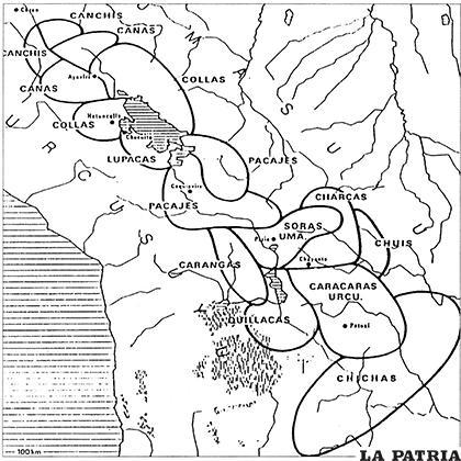 Mapa de los pueblos preincaicos