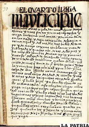 Imagen de un documento que habla sobre Mayta Inca