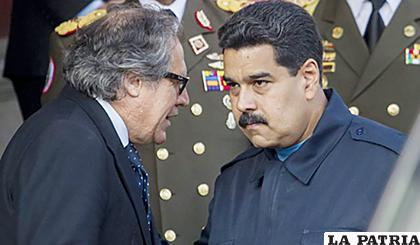 Luis Almagro y el presidente de Venezuela, Nicolás Maduro /DIARIO EL PAIS URUGUAY